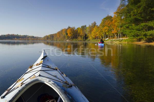 озеро избирательный подход передний план байдарках спокойный осень Сток-фото © Gordo25