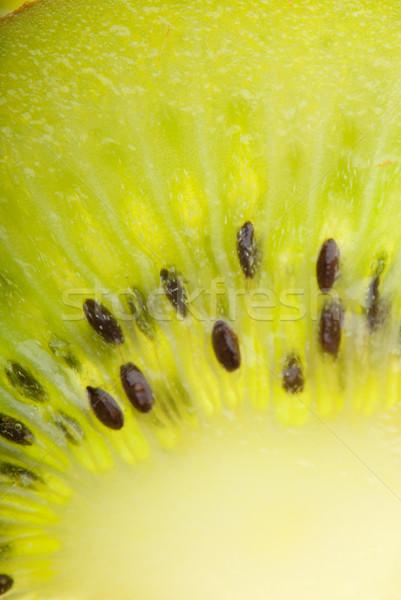 Zöld kiwi központ lövés szelet textúra Stock fotó © gorgev