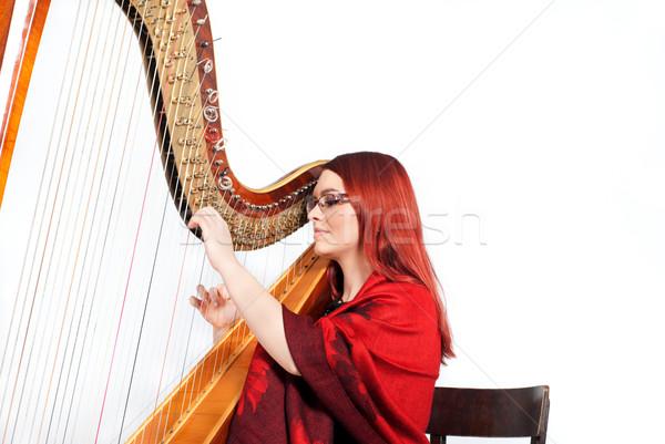 Lány játszik hárfa vörös hajú nő fából készült izolált Stock fotó © gorgev