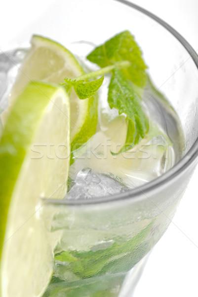 Friss mojito közelkép citrus üveg jég Stock fotó © gorgev