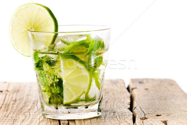 Glass mojito lime wood Stock photo © gorgev