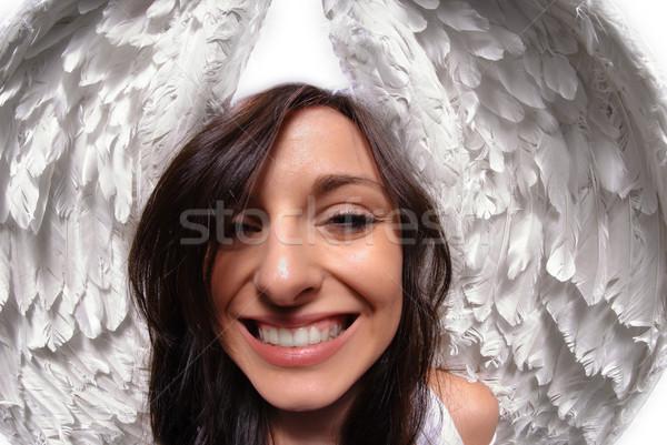 Vicces angyalszárnyak portré fiatal nő izolált fehér Stock fotó © gorgev
