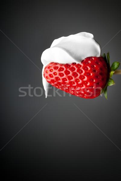 Krém eper desszert piros izolált szürke Stock fotó © gorgev