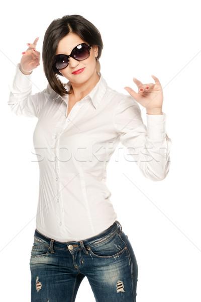 Blanco azul nina camisa jeans aislado Foto stock © gorgev