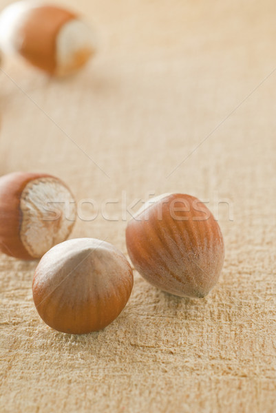 Mogyoró fából készült tányér csoport dió makró Stock fotó © gorgev