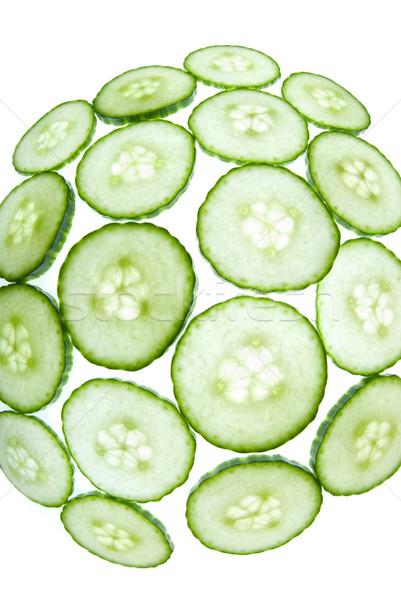 Fisheye groene komkommer stukken formatie witte Stockfoto © gorgev