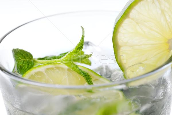 Gyógynövény fókusz játék zöld víz üveg Stock fotó © gorgev