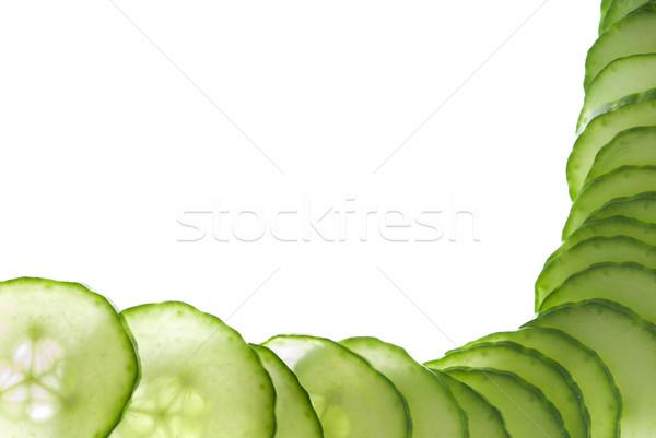 Keret uborka szeletek makró fehér friss Stock fotó © gorgev