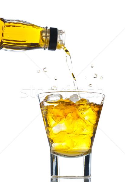 Whiskey áramló kövek izolált fehér jég Stock fotó © gorgev