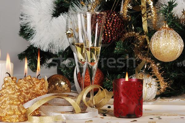 Karácsony dekoráció díszítések üveg tél labda Stock fotó © gorgev