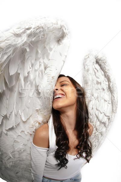Fish eye angel wings portrait Stock photo © gorgev