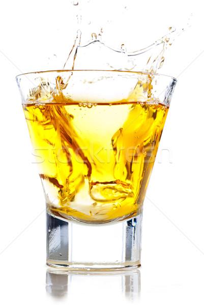Whisky Splash rocas aislado blanco hielo Foto stock © gorgev