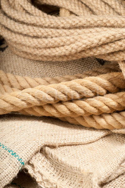 Twin brown ropes Stock photo © gorgev