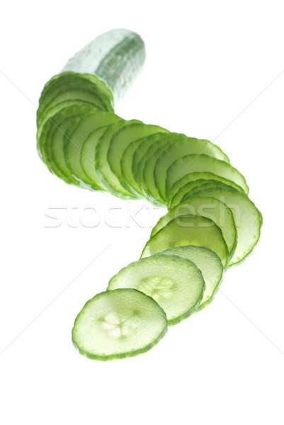 Rebanadas enfoque jugar pepino blanco alimentos Foto stock © gorgev
