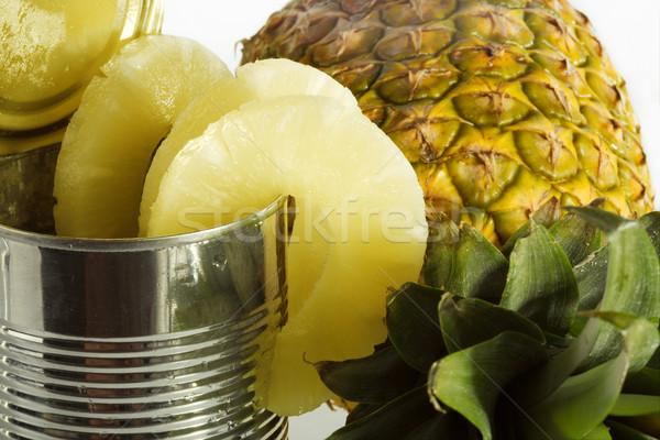 Ananász konzerv konzerv étel bolt eszik fehér Stock fotó © Goruppa
