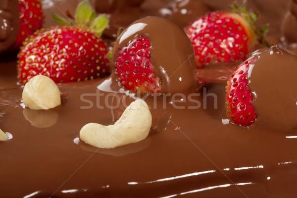 Stock photo: Strawberry in chocolate