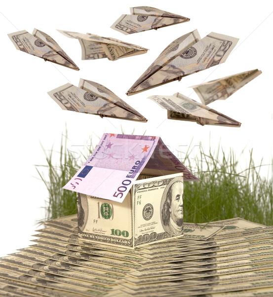 Casa notas dólares euro compras assinar Foto stock © Goruppa