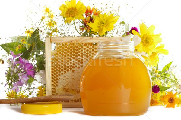 Méz méhsejt természetes étel üveg gyógyszer Stock fotó © Goruppa