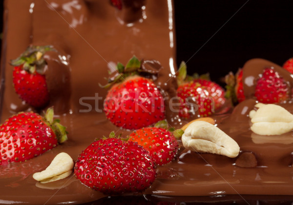 Strawberry in chocolate Stock photo © Goruppa
