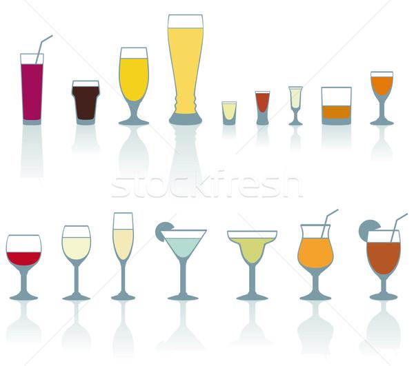 Conjunto beber óculos bebida fria branco projeto Foto stock © Grafistart