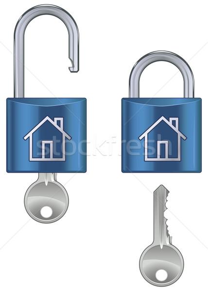 заблокированный жилье блокировка ключевые изолированный белый Сток-фото © Grafistart