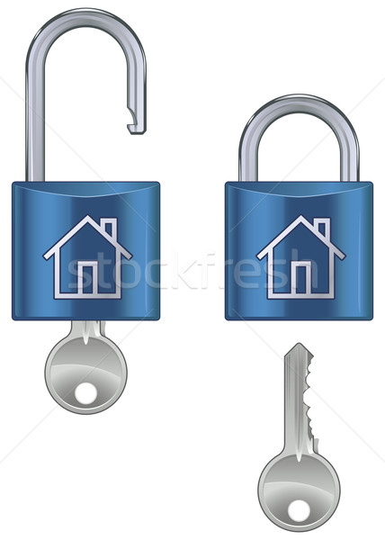 Locked and unlocked housing marked Stock photo © Grafistart