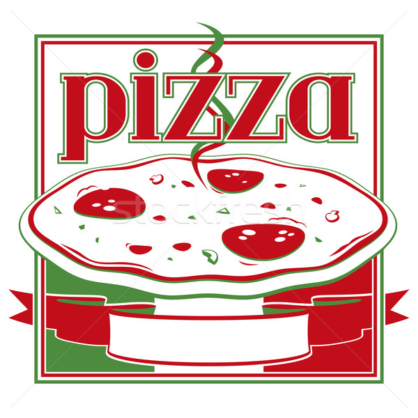 Pizza-Box italienisch rot grünen decken Design-Vorlage Stock foto © Grafistart
