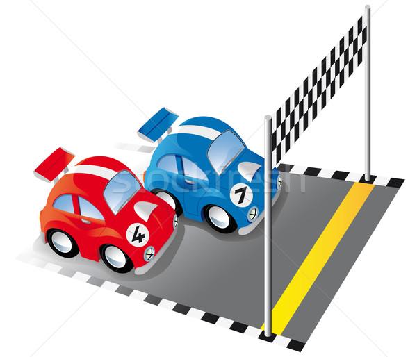 Zwei funny Rennen Autos Rennstrecke Ziellinie Stock foto © Grafistart