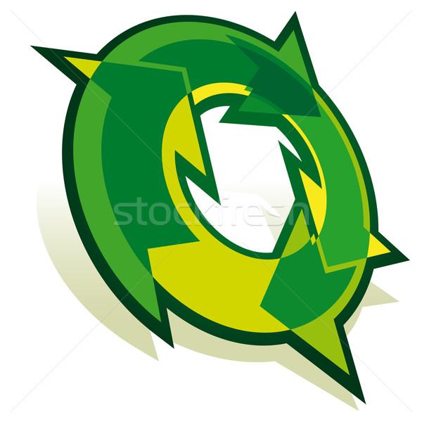 Recycling Symbol grünen Pfeile isoliert weiß Stock foto © Grafistart