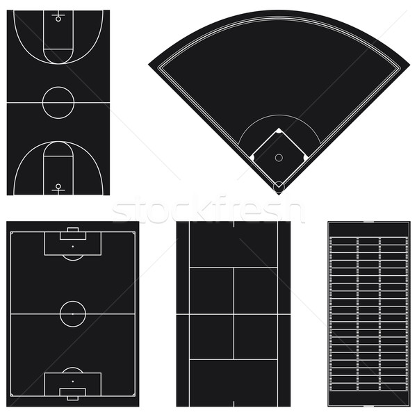Five popular sport field layouts Stock photo © Grafistart
