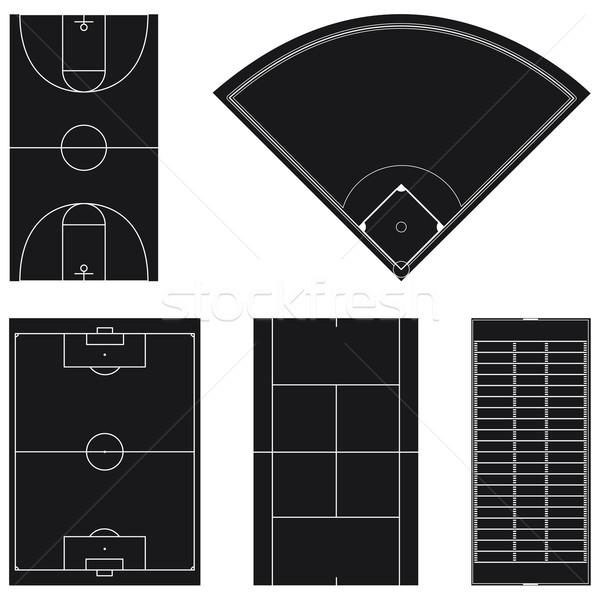 пять популярный спорт области черный изолированный Сток-фото © Grafistart