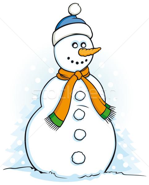 Glücklich Schneemann Illustration weiß abstrakten Schnee Stock foto © Grafistart