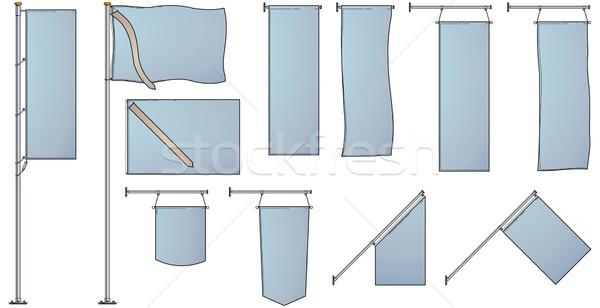 Fahnen Banner mehrere isoliert weiß Werbung Stock foto © Grafistart