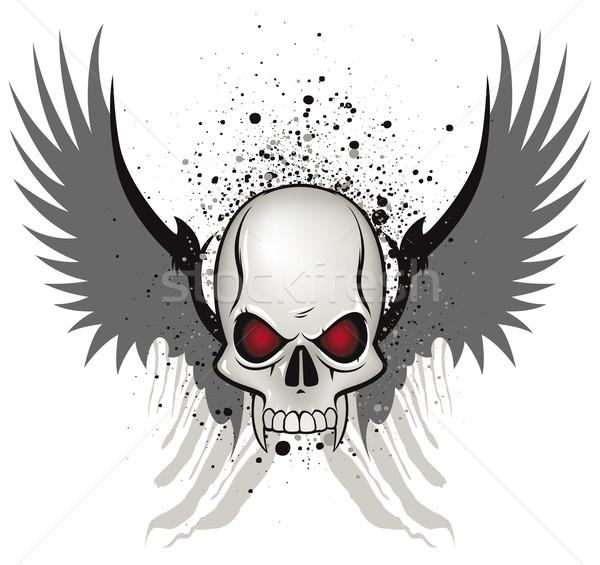 зла череп эмблема белый аннотация крыльями Сток-фото © Grafistart