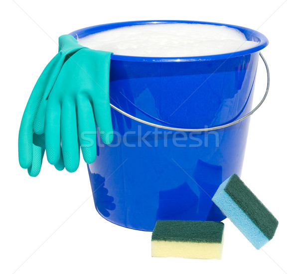 Reinigung Eimer Handschuhe isoliert weiß Haus Stock foto © Grafistart