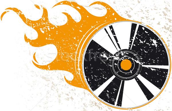 Grunge disco compacto chamas música fogo azul Foto stock © Grafistart
