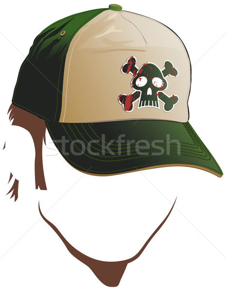 Stock photo: Male face with skull cap