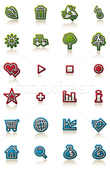 Glossy icon set with reflection Stock photo © Grafistart