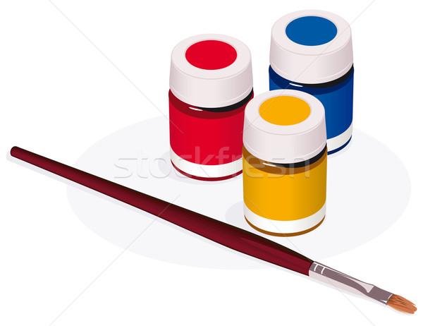 Pinsel malen isoliert weiß Hintergrund Kunst Stock foto © Grafistart