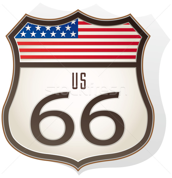 Route 66 знак флаг белый синий отель Сток-фото © Grafistart