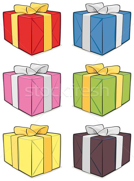 Geschenkbox Set isoliert weiß glücklich Geschenk Stock foto © Grafistart