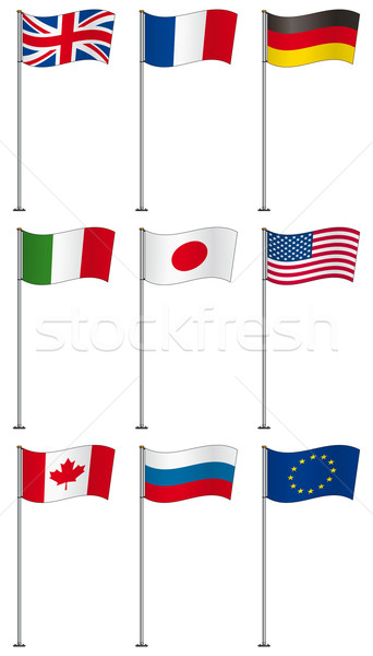 Flags of G8 members on flag pole Stock photo © Grafistart