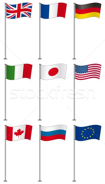 флагами флаг полюс Евросоюз изолированный белый Сток-фото © Grafistart