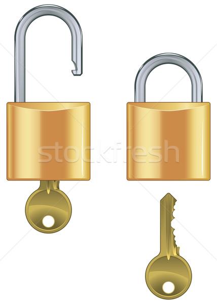 Open chiuso lucchetto set chiave isolato Foto d'archivio © Grafistart