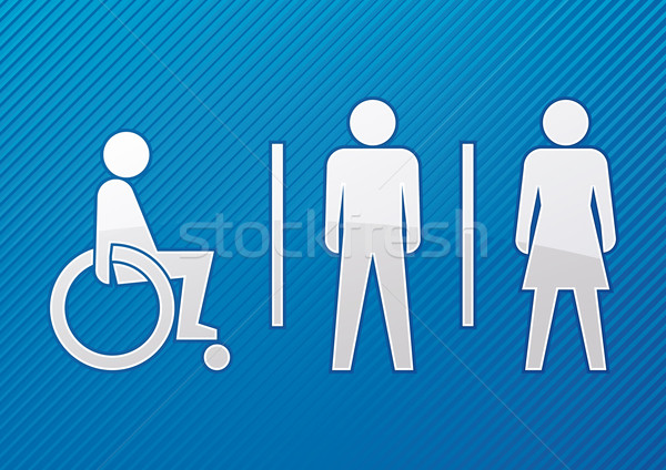 WC · sinal · deficientes · masculino · feminino · azul  ilustração de vetor  -> Banheiro Feminino Vetor Free