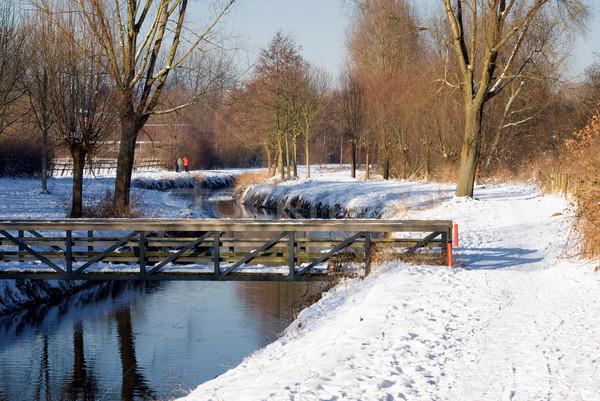 моста зима пейзаж небе дерево снега Сток-фото © Grafistart
