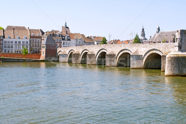 Medieval St. Servatius bridge over the river Meuse. Stock photo © Grafistart