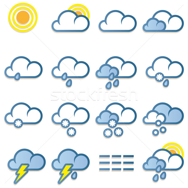 Weather forecast icons Stock photo © Grafistart