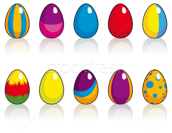 Set of ten Easter eggs Stock photo © Grafistart