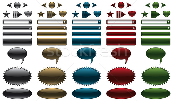 Website buttons and banners with glossy metallic look Stock photo © Grafistart